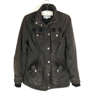 BCBGeneration Utility Jacket Charcoal Zip Snap